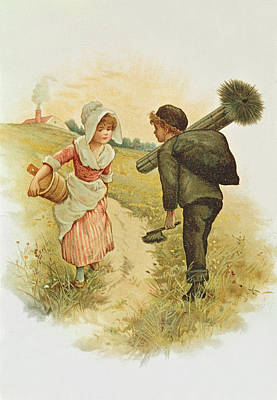 Valentines Day Drawing - The Sweep And The Milkmaid Book Illustration by Anonymous