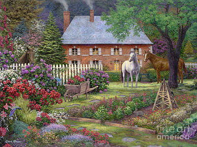 English Horse Painting - The Sweet Garden by Chuck Pinson