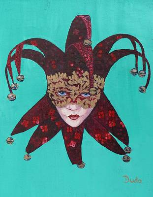 The Sweetheart Of Arlecchino Colombina Venitian Mask Art Print by Susan Duda