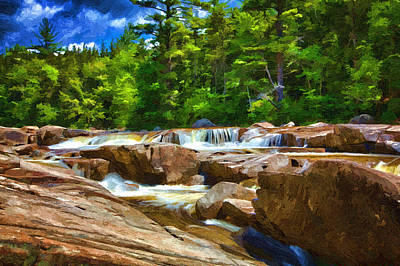 Painting - The Swift River Beside The Kancamagus Scenic Byway In New Hampshire by John Haldane