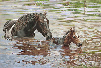 The Swimming Lesson Art Print by Helen Bailey