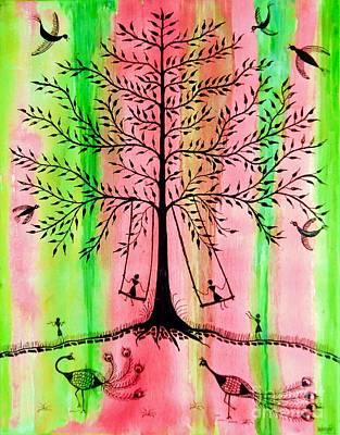Warli Painting - The Swing by Anjali Vaidya