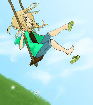 Child Swinging Digital Art - The Swing by Charles Gruver