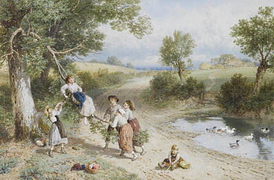 Myles Birket Foster Digital Art - The Swing by Myles Birket Foster