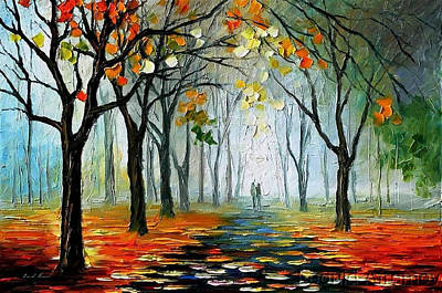 The Sympathy Of Autumn - Palette Knife Oil Painting On Canvas By Leonid Afremov Original by Leonid Afremov
