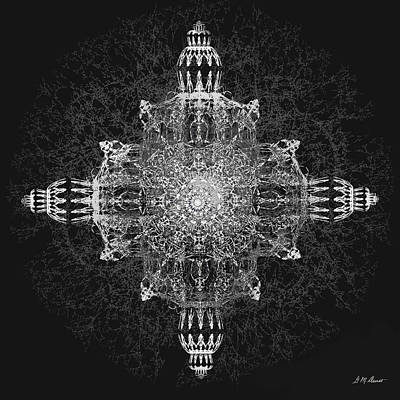 Abstract Movement Digital Art - The Tabernacle In Black And White by Michael Durst