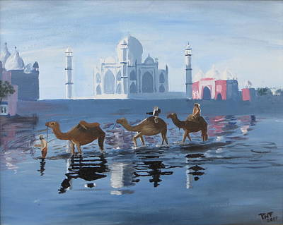 Painting - The Taj Mahal And The Yamuna River by Artistic Indian Nurse