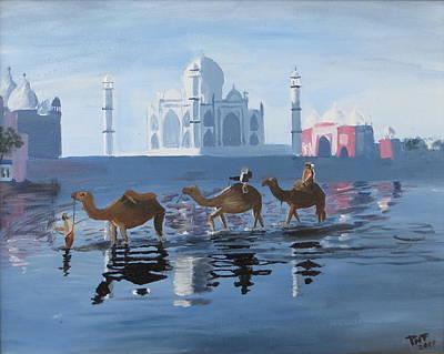 The Taj Mahal And The Yamuna River Art Print