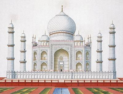 Tower Drawing - The Taj Mahal by German School