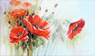 The Talk Of The Poppies Art Print