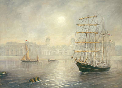 The Tall Ship Thalassa By The Old Royal Naval College Greenwich Art Print by Eric Bellis