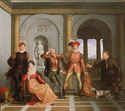 Interior Scene Painting - The Taming Of The Shrew by Washington Allston