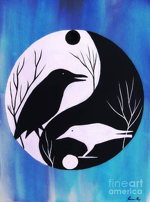 Painting - The Tao Of Crow by Jean Fry