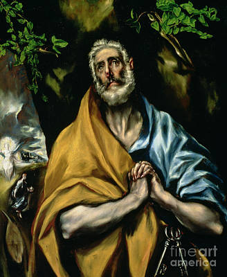 Confession Painting - The Tears Of St Peter by El Greco Domenico Theotocopuli