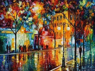 City Scape Painting - The Tears Of The Fall - Palette Knife Oil Painting On Canvas By Leonid Afremov by Leonid Afremov