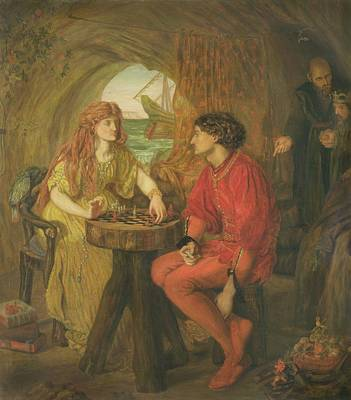 The Tempest Oil On Canvas Art Print by Lucy Madox Brown
