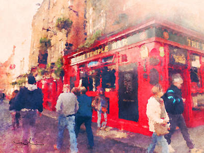 Beer Mixed Media - The Temple Bar In Dublin 01 by Miki De Goodaboom