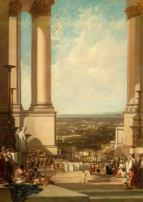 Crowds Painting - The Temple Of Aesculapius, 1837 by Sir Augustus Wall Callcott