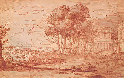 The Temple Of Apollo On The Island Of Delos, C.1648 Pen, Wash & Bistre Ink Art Print by Claude Lorrain