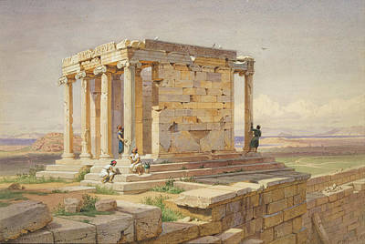 The Temple Of Athena Nike. View From The North-east Print by Carl Werner