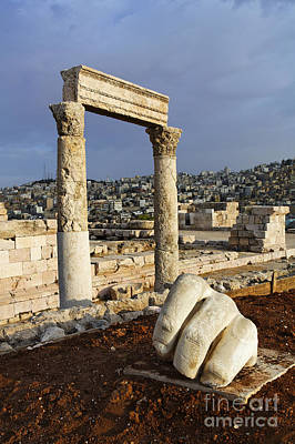 Pillars Of Hercules Photograph - The Temple Of Hercules And Sculpture Of A Hand In The Citadel Amman Jordan by Robert Preston