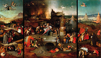 Hieronymus Bosch Painting - The Temptation Of Saint Anthony by Hieronymus Bosch