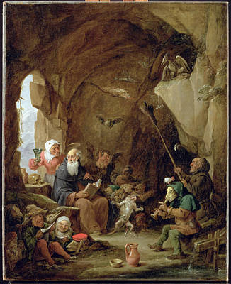 Monster Photograph - The Temptation Of St. Anthony In A Rocky Cavern Oil On Canvas by David the Younger Teniers