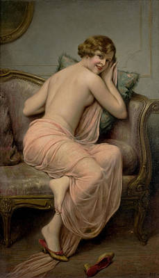 Chaise Longue Painting - The Temptress by Francois Martin Kavel