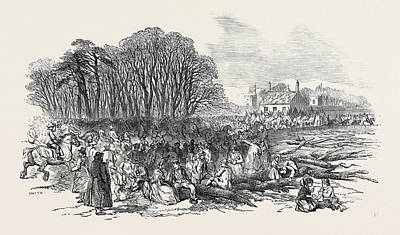 Vern Drawing - The Tenantry And Pitmen Assembling At The Towers by English School