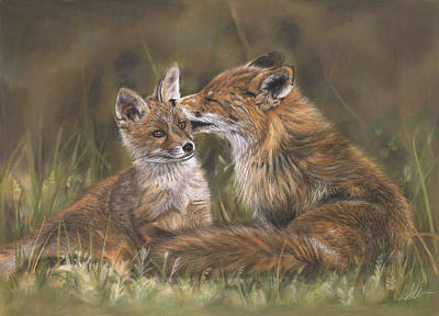 Fox Kit Painting - The Tender Nudge by Terry Kirkland Cook