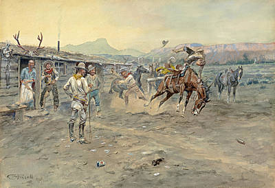 Beautiful Cowboy Art Painting - The Tenderfoot by Charles Marion Russell