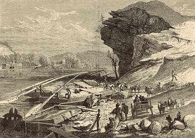 Lookout Mountain Drawing - The Tennessee At Chattanooga 1872 Engraving by Antique Engravings