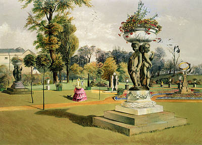 Ground Painting - The Terrace Garden Woburn Abbey  by E Adveno Brooke