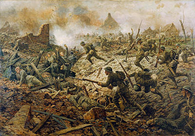 Wwi Painting - The Territorials At Pozieres On 23rd by William Barnes Wollen