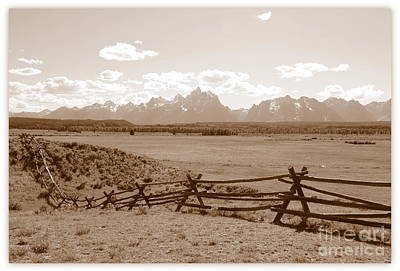 Photograph - The Tetons In Sepia by Carol Groenen