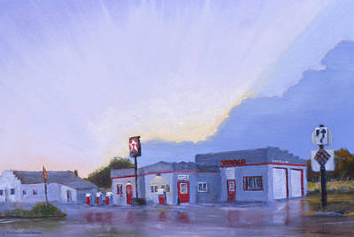 Service Station Painting - The Texaco In Potter by Jerry McElroy