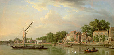Swan Painting - The Thames At Twickenham, 18th Century by Samuel Scott