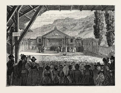 Bayern Drawing - The Theatre Of Oberammergau Passion Play by German School