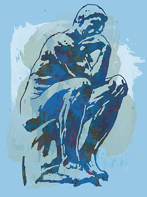 Bicycle Drawing - The Thinker - Rodin Stylized Pop Art Poster by Kim Wang