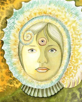 Chameleon Painting - The Third Eye The Wise One Meditation Portrait by Irina Sztukowski