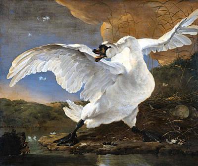 The Threatened Swan Art Print by Jan Asselyn