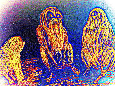 The Three Apes Are Discussing Important Matters  Art Print
