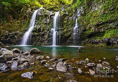 Photograph - The Three Bears - The Stunningly Beautiful Upper Waikani Falls. by Jamie Pham