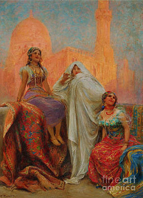 I Wonder Painting - The Three Beauties Standing Before Al Rifai Mosque by Celestial Images