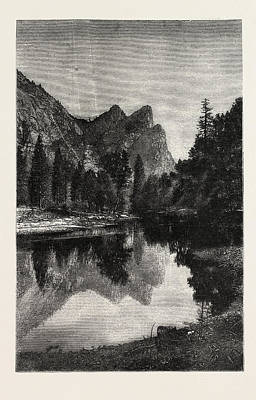 Yosemite Drawing - The Three Brothers, Yosemite Valley, Us, Usa by American School