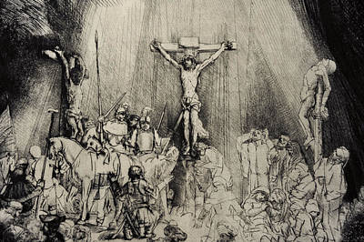 Jesus Christ Drawing - The Three Crosses by Rembrandt Harmensz van Rijn