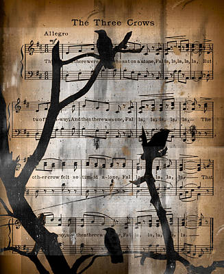 Crow. Bird Music Digital Art - The Three Crows by Gothicrow Images