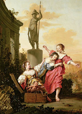 The Three Daughters Of Cecrops Discovering Erichthonius Art Print by Salomon de Bray