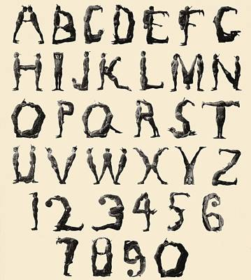 Shape Drawing - The Three Delevines Satanic Gambols Human Alphabet. The Three Delevines Were An 1897 Music Hall by English School