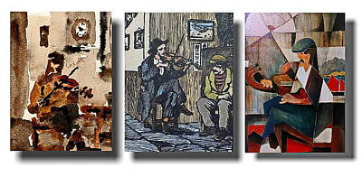 Painting - The Three Fiddlers by Val Byrne
